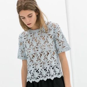 Zara Blue Crochet Cropped Top T-shirt